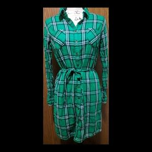 Kelly Green Plaid Flannel Shirt Dress M